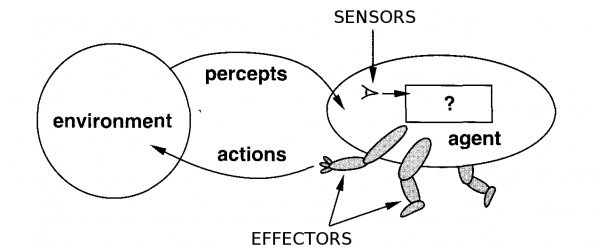 Agents interact with environments through sensors and effectors.